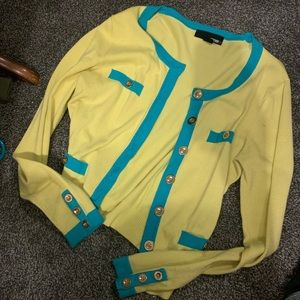 Neon yellow and teal cardigan